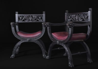 "Carved Victorian Leather Armchairs - ""Lions"""