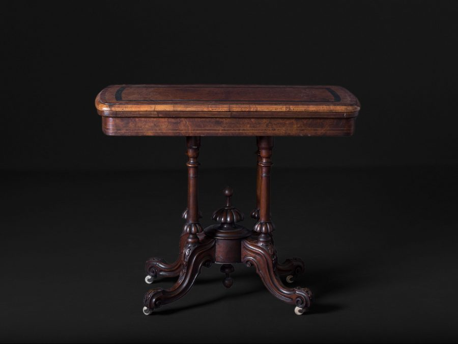 Victorian Inlaid Rosewood, Pedestal Card Table (Closed)