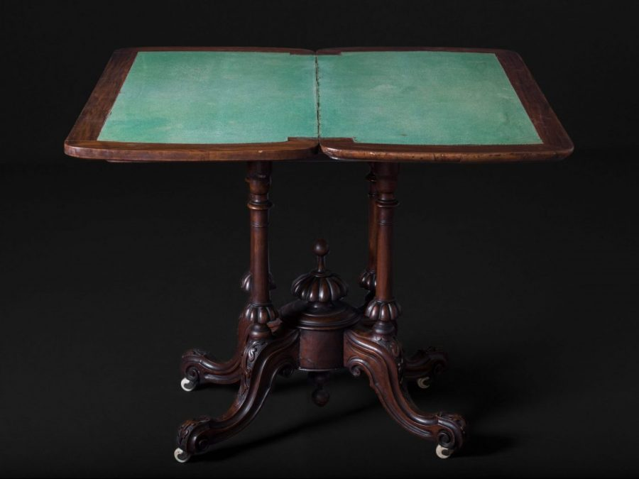 Victorian Inlaid Rosewood, Pedestal Card Table (Open)
