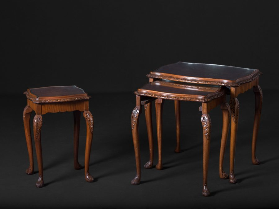 Carved Edwardian Walnut Nested Tables