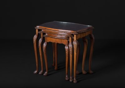 Carved Edwardian Walnut Nested Tables (Gathered)