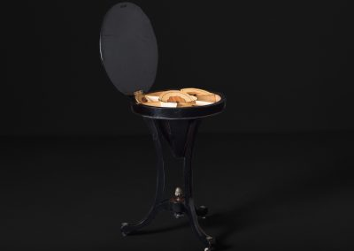 "Victorian Cone Table with Inlaid Ebonised Mahogany - ""Sewing table"" (Open)"