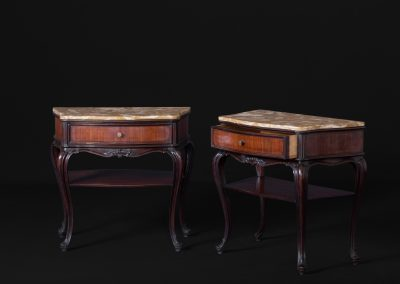 Italian Carved Mahogany Side Tables With Onyx Top