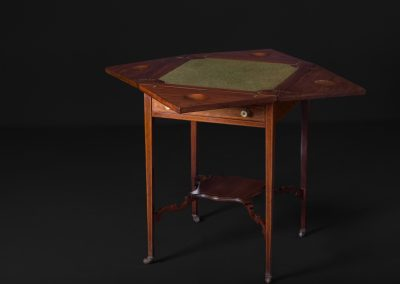 Victorian Inlaid Mahogany Envelope Card Table (Open)
