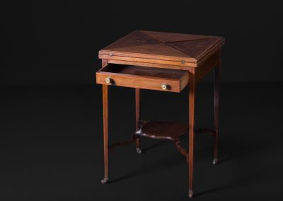 Victorian Inlaid Mahogany Envelope Card Table (Closed)